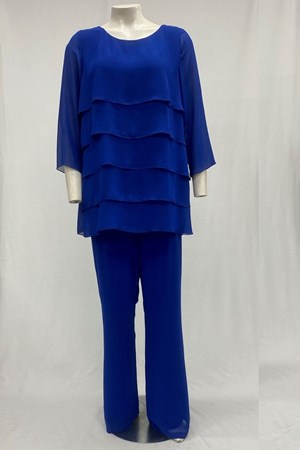 Becky Chiffon Pants With Jersey Lining - Royal