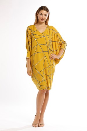 Danny Jersey Cowl Sides Dress in MUSTARD Click to see BEIGE colourway