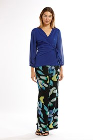 Willow Jersey Wrap Top With Chiffon Sleeves - Royal