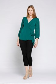 Willow Jersey Wrap Top With Chiffon Sleeves - GREEN