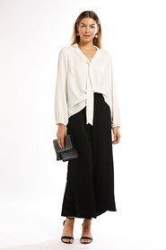 Woven Tie Neck Collared Shirt with Elasticated Cuff -White