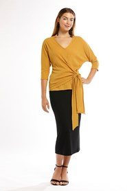 Olivia Tie Front Batwing Top AVAILABLE IN MUSTARD, WHITE,RUST