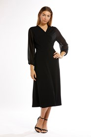 Lexi Soft Knit Wrap Dress With Chiffon Sleeve