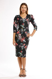 Charlie Print Ponti Dress- Puff 3/4 Sleeve
