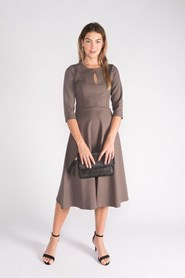 Ponti Key Hole Dress - Mocha