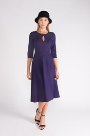 Ponti Key Hole Dress - Purple