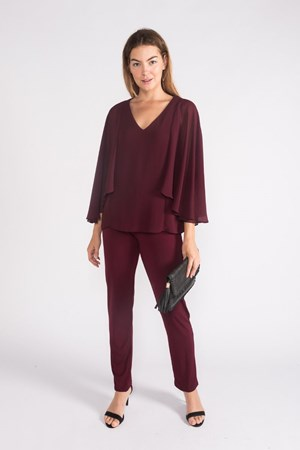 SOFT KNIT AND CHIFFON TOP