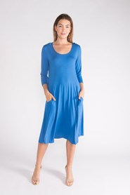 SILKY KNIT DRESS WITH POCKETS AQUA