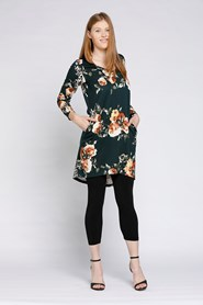 PONTI HIGH LOW TUNIC DARK GREEN BASE WITH FLORAL