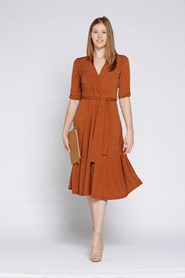 12078 Soft Knit Spot Dress in RUST