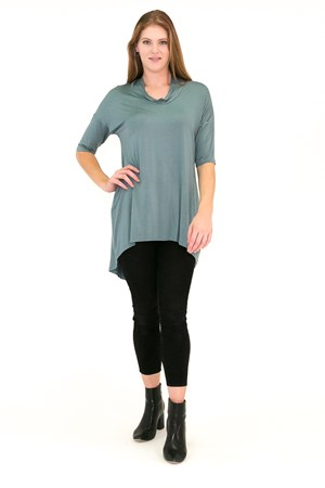 Bamboo Cowl Neck High Low Tunic DUCK EGG