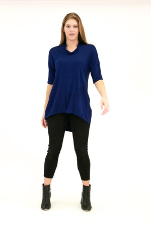 Bamboo Cowl Neck High Low Tunic ROYAL