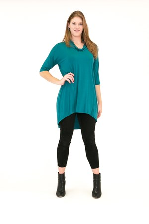 Bamboo Cowl Neck High Low Tunic TEAL
