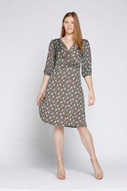 Printed Soft Knit Wrap Dress SHELL PRINT