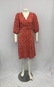 Soft Knit Faux Wrap Dress with Twist Detail RED PRINT