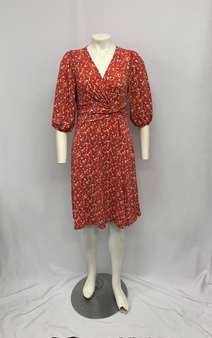 Soft Knit Faux Wrap Dress with Twist Detail RED PRINT