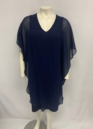Chiffon Overlay Dress NAVY