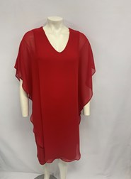 CHIFFON OVERLAY DRESS RED