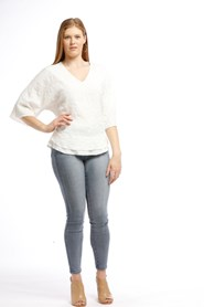 Simone Embossed Top with Double Hem