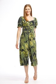 Soft Knit Jumpsuit - GREEN TROPICAL PRINT