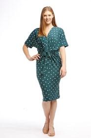 Soft Knit Twist Dress - JADE GREEN SPOT