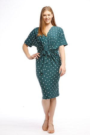 Soft Knit Twist Dress - JADE GREEN SPOT