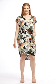 Printed Soft Knit High Low Dress NAVY WHITE KHAKI YELLOW