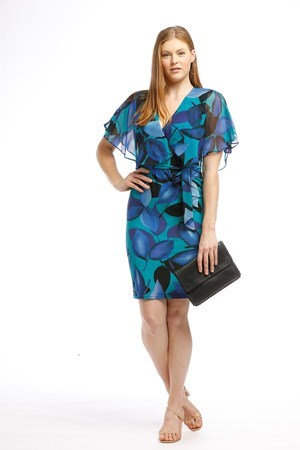 Printed Chiffon Dress with Matching Soft Knit Print