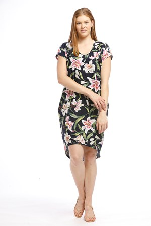 Soft Knit High Low Dress - NAVY TROPICAL PRINT