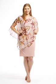 Printed Chiffon overlay dress PINK