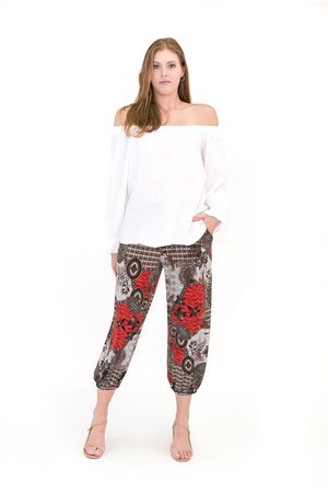 Printed soft knit balloon hem pant with pockets and elastic hem