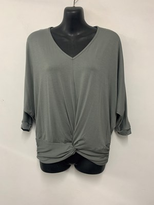 Twist Front Bamboo Top KHAKI