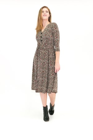 Bree Button Front Dress ANIMAL PRINT