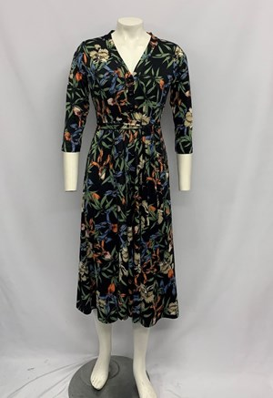 Bree Button Front Dress NAVY PRINT
