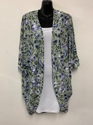 Heather Printed Woolly Knit Shrug MINT/LILAC