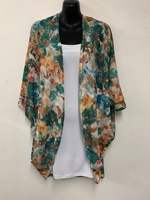 Heather Printed Woolly Knit Shrug GREEN/ORANGE PRINT