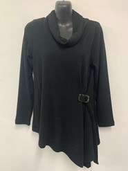 Bella Wooly Knit with tortoise shell buckle BLACK