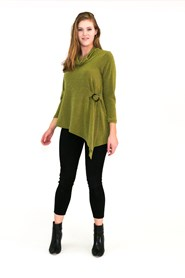 Bella Wooly Knit with tortoise shell buckle GREEN