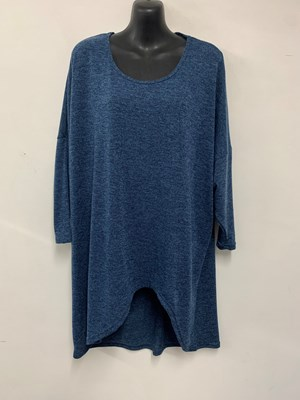 High Low Woolly Knit Jumper DENIM BLUE
