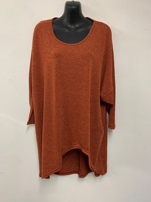 High Low Woolly Knit Jumper RUST