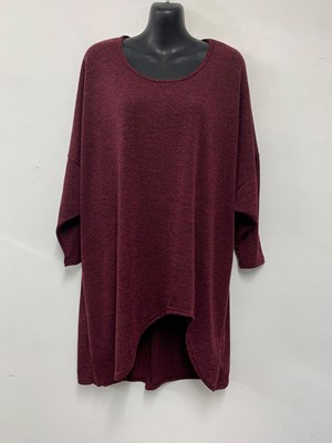 High Low Woolly Knit Jumper WINE