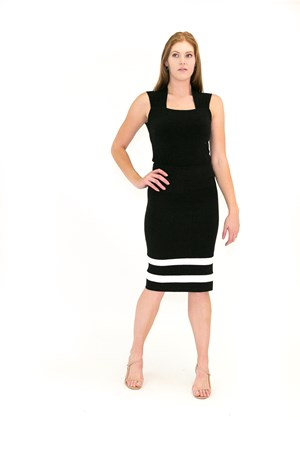 Ponte Skirt with Contrast Band