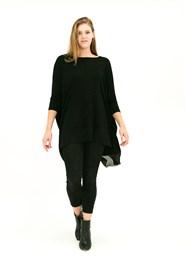 Demi Batwing Wonderland Knit with Chiffon Hem BLACK