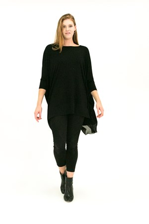 Demi Batwing Wonderland Knit with Chiffon Hem BLACK