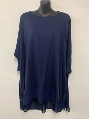 Demi Batwing Wonderland Knit with Chiffon Hem NAVY