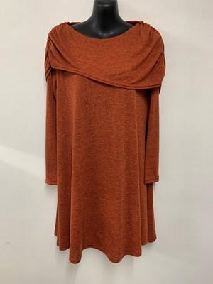 Emma Shawl Woolly Knit Dress/Tunic RUST