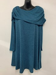 Emma Shawl Woolly Knit Dress/Tunic TEAL