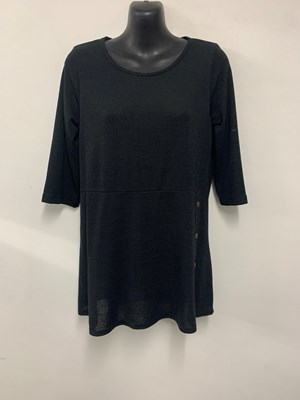 Suzie Knit Top with button detail BLACK