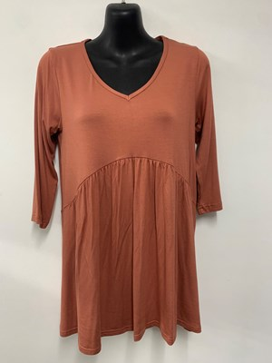Serena v neck top with gathers RUST