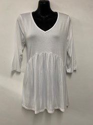 Serena v neck top with gathers WHITE